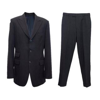 Gianni Versace navy men's two-piece suit with sheer stripes