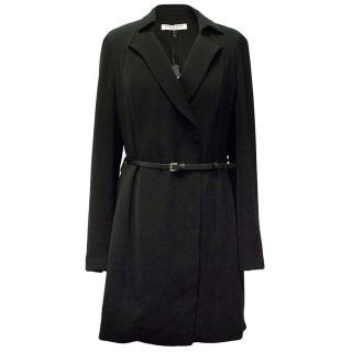 Halston black dress with belt