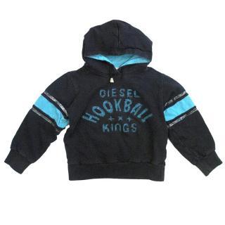 Diesel Black and Blue distressed hoodie