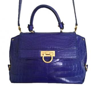 Salvatore Ferragamo Large Crocodile Blue Bag