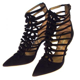 Oscar de la Renta Black Suede Ankle Boots