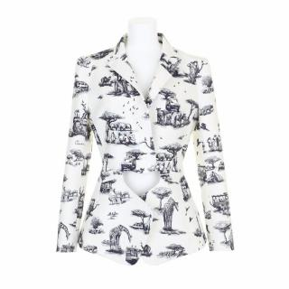 Carven Beige Jacket with Cutout in Cobalt Safariprint