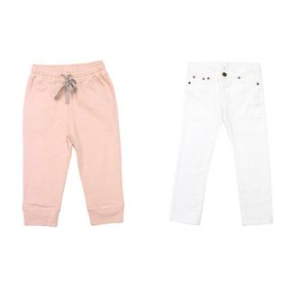 Marie Chantal pink sweatpants and white jeans