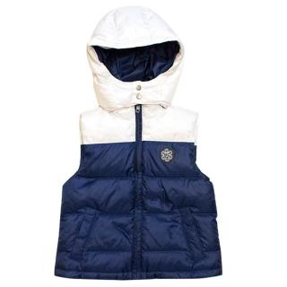 Marie Chantal blue and white gilet