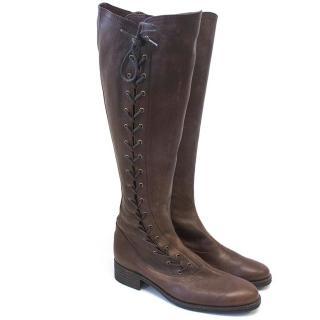 Issey Miyake Brown knee-high boots