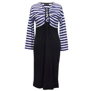 Sonya Rykiel blue and white stripes dress