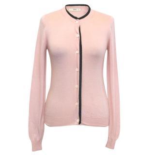Prada Pink cardigan with charcoal trim