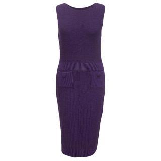 Christian Dior purple wool dress