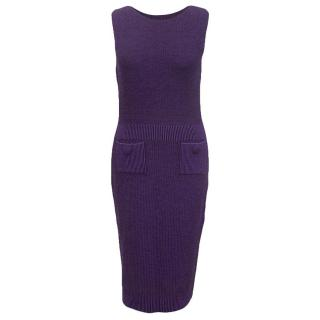 Christian Dior purple wool dress