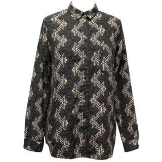 BDG Charcoal and white geometric print shirt