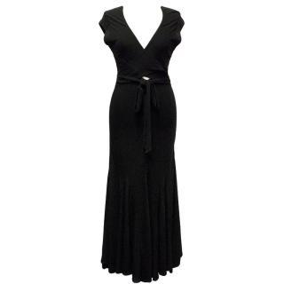 Donna Karan Black maxi wrap dress