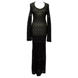 Claudia Schiffer Black crotchet maxi-dress
