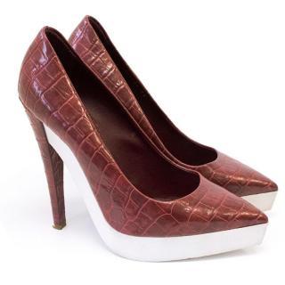 Stella McCartney red crocodile print heels
