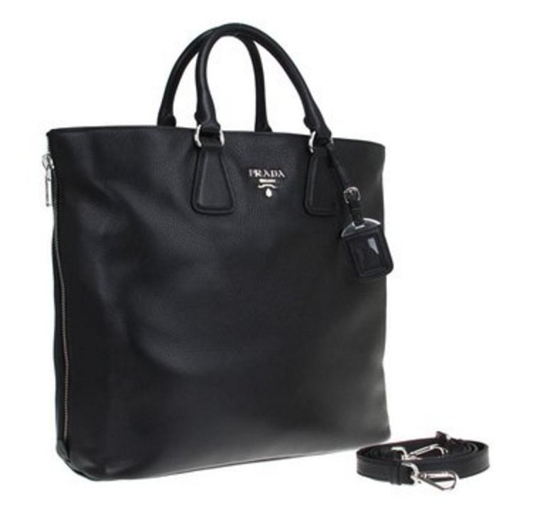 ca564e14849e Prada Vitello Phenix Black Textured Leather Shopping Tote Bag | HEWI London