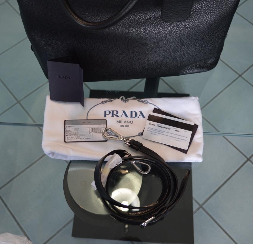 aa48c4582c59 Prada Vitello Phenix Black Textured Leather Shopping Tote Bag. 21.  12345678910