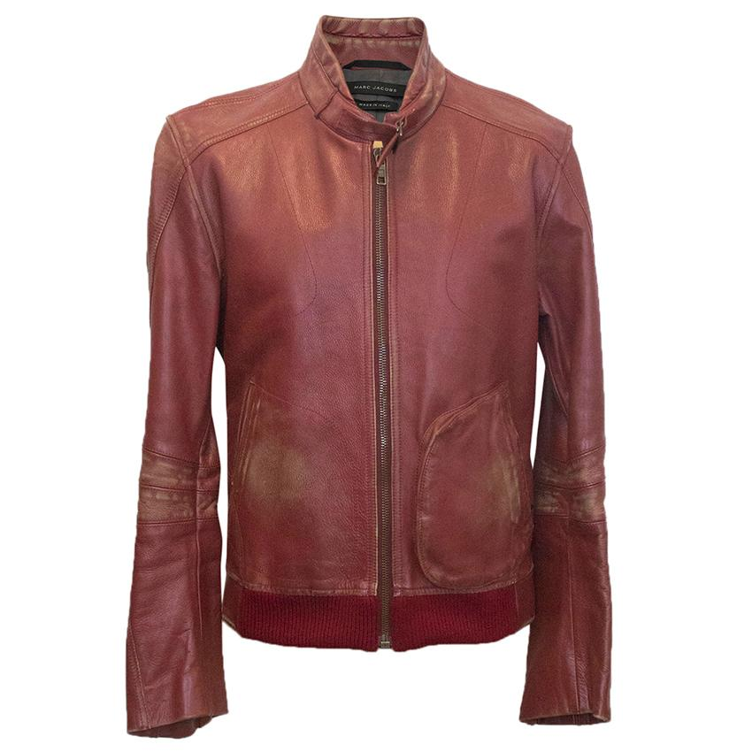 Marc Jacobs red leather distressed jacket