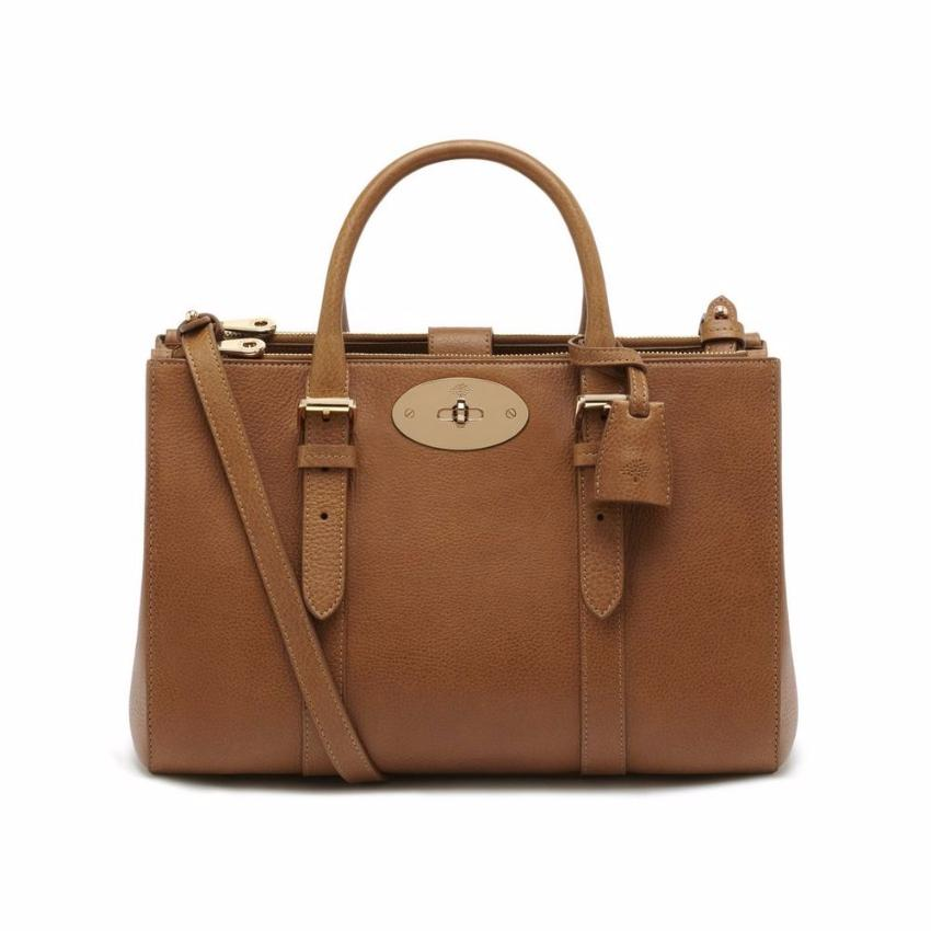 df2c99a4a33f Mulberry Oaktan Small Bayswater Double Zip Tote