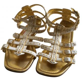Gold and cream flat strap sandals