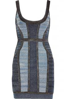 New Herve Leger Denim Aja Bondage Dress