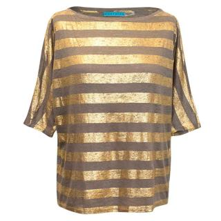 Alice and Olivia Taupe and Gold striped top