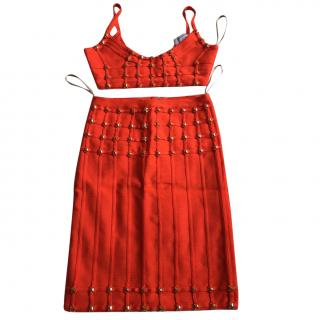 Herve Leger Red Rare Stunning Two piece