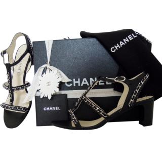 Chanel black chain sandals