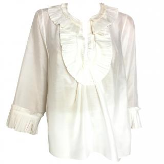 John Galliano cream blouse with pleated collar