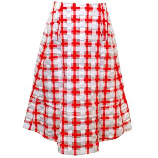 Marni red and white checked skirt