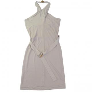 Gucci bamboo detail halter off-white dress