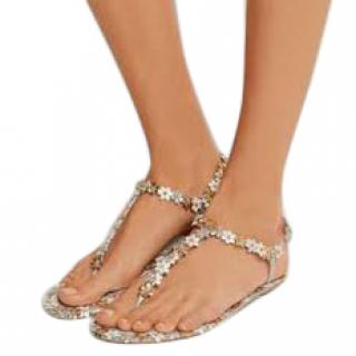Rene Caovilla Metallic Floral Leather Flat Sandals