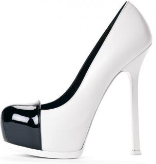 Saint Laurent Tribtoo Tribute Two Toe Cap Heels White Black Leather