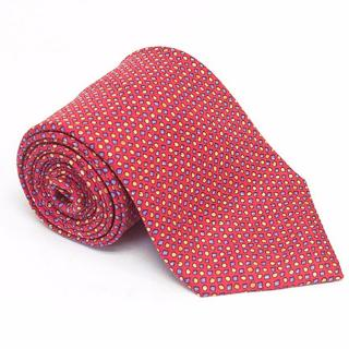 Hermes Red silk tie with geometric print