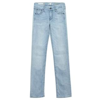 7 For All Mankind blue pale-wash straight leg jeans