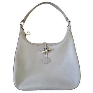 Longchamp pale grey hobo bag