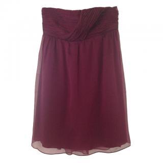 Alice+Olivia Burgundy Dylan Draped Silk Dress