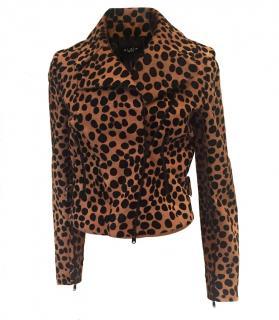 Alaia Leopard Pony Hair Biker Jacket