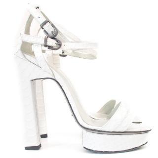 Karina IK White heeled platform sandals
