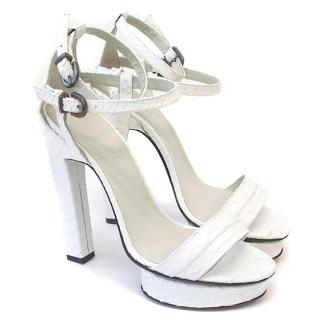 Karina IK white heeled platform sandals