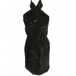 Issa Black Halterneck Dress with Silver Animal Pattern