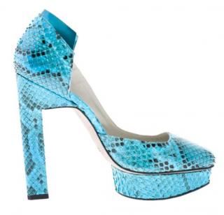 Karina IK turquoise blue python heels