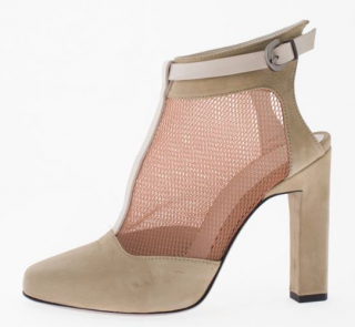 Karina IK beige suede booties with mesh