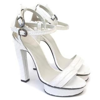 Karina IK white 'Sea Purple' platform heels