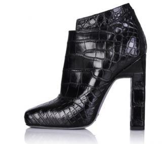 Karina IK Black Crocodile Ankle Booties