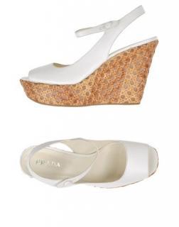 Prada white wedge sandals