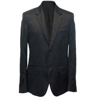 Alexander McQueen Black Wool Blend Men's Patterned Blazer
