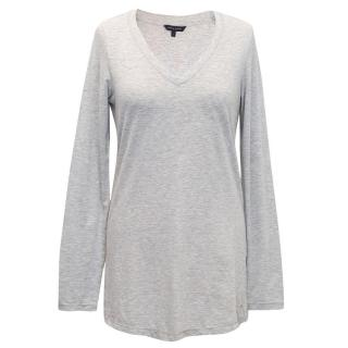 Tommy Hilfiger Grey V-neck Long Sleeved Top