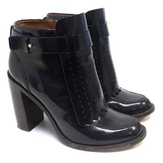 Tory Burch Navy Glossy Calf Ankle Boots