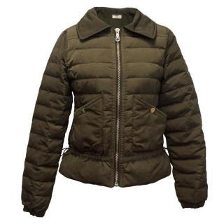 Massimo Dutti Khaki Green Puffer Jacket