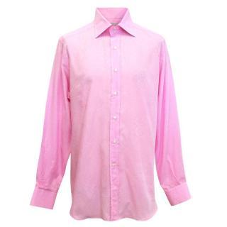 Etro men's pink shirt with sheer pattern