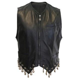 Gianni Versace Limited Edition Men's Black Leather Vest